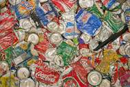 Crushed aluminium cans made from aluminium from Guinea