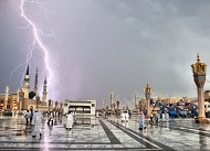 Saudi Arabia lightning storm at the Prophets Mosque