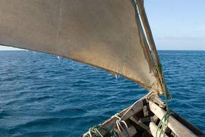 A dhow in the Indian Ocean, Kenya coast, as in this story.